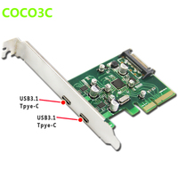 2 ports USB 3.1 Type C PCI express Card + PCIe low profile bracket pci e 4x to usb3.1 Type C adapter SuperSpeed 10Gbps USB C