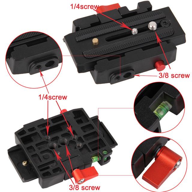 DSLR Camera Adaptador de Liberação Rápida Do Sistema Com Slide Placa para Tripé Bola Cabeça