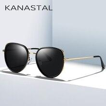 KANASTAL Brand Design Polarized Sunglasses Women Oversize Cat Eyes Mental Frame Luxury Eyewear For Girl