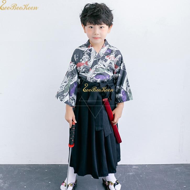 Boys Japanese suit Skirt Girls Japanese Kimono Skirt Anime Cosplay kimono Children Samurai Halloween Cosplay Costume For Women