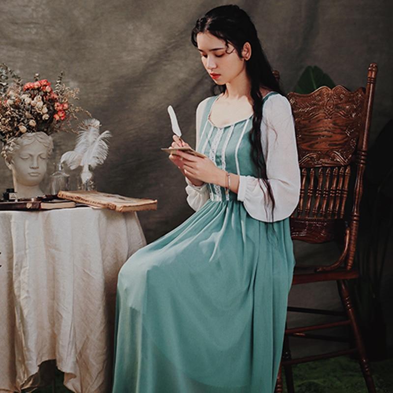 Vert Taille Vintage Originale Chinoiserie Dentelle Français Haute Élégant Robes Printemps Femmes Conception Automne Mince Lynette's Patchwork vZwgIx88