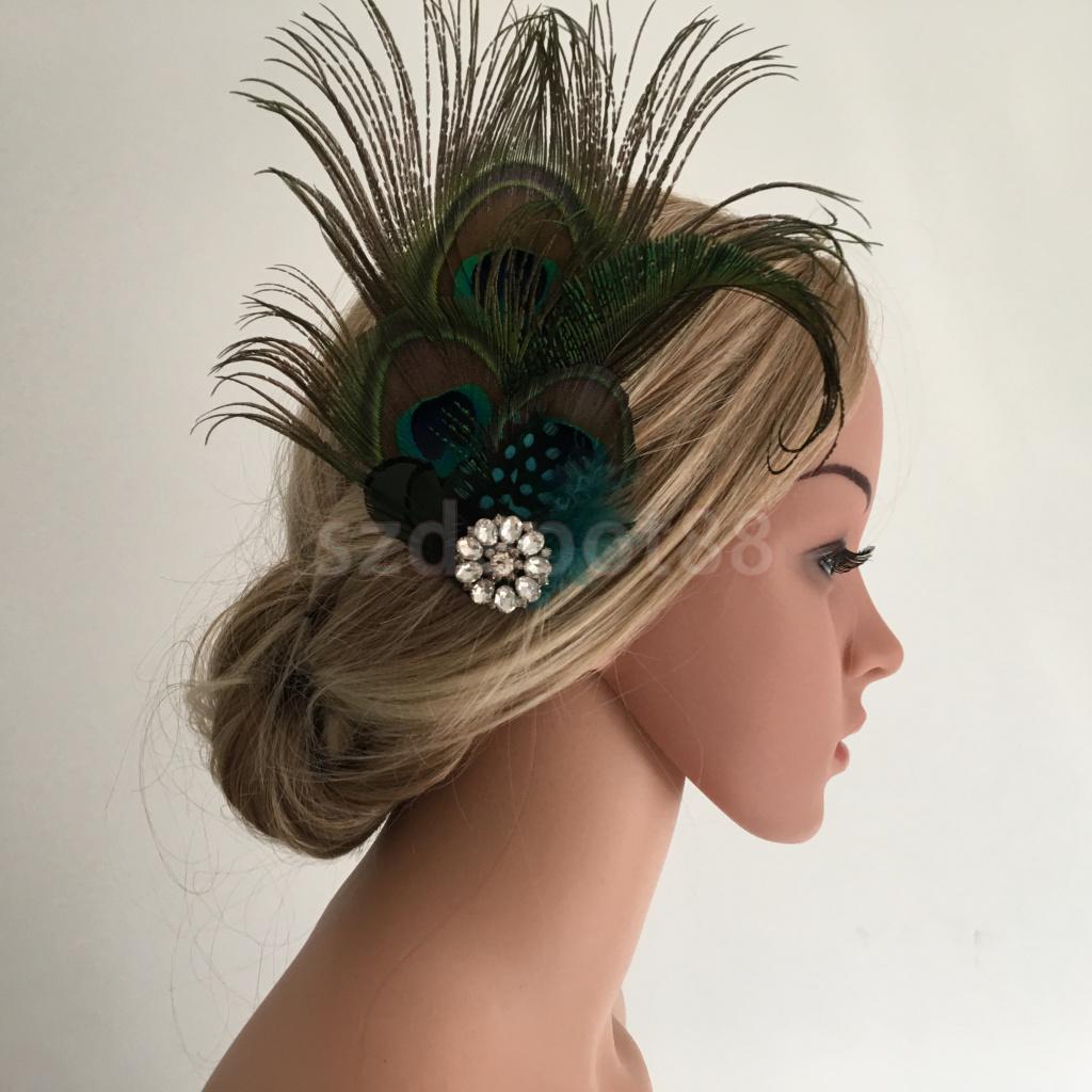 Vintage Peacock Feather Crystal Flower Hair Clip Headpiece Hair Costume
