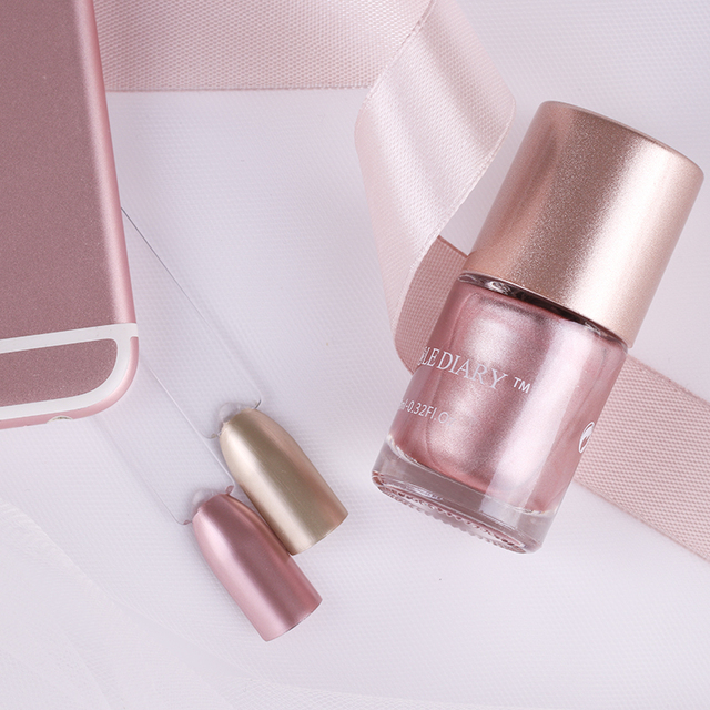 Nicole diario oro metálico Esmaltes de uñas rosa claro espejo efecto ...