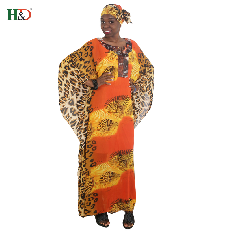 African Women Long Robe Leopard Printed Loose Maxi Dresses Africa Lady Clothes Vetsidos Africaine Outfit Robes Head Wraps