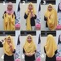 Джерси мгновенный платок хиджаб поскользнуться на амира хиджабы платки равнина хлопковый трикотаж шарф C54