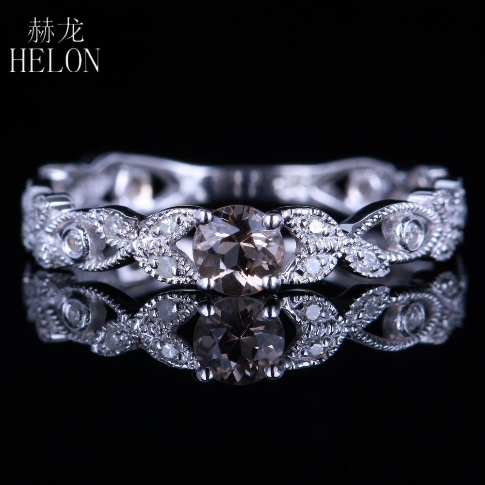 HELON Antique Round Cut 4mm Genuine Smokey Quartz Gemstone Ring Solid 14K White Gold Fine Women Diamonds Engagement Wedding Ring цена