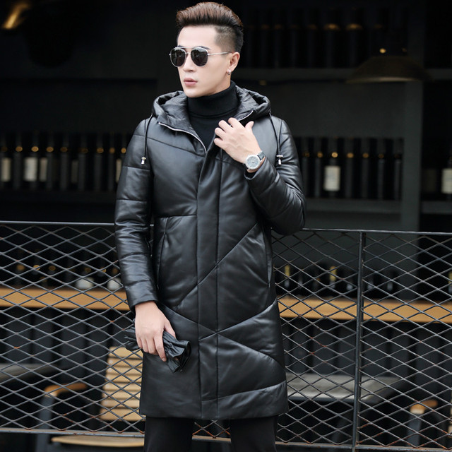 AYUSUE Geniune Leather Jacket Men Top Quality Sheepskin Leather Down Coats Hooded Winter Warm Thickening chaqueta invierno MF421