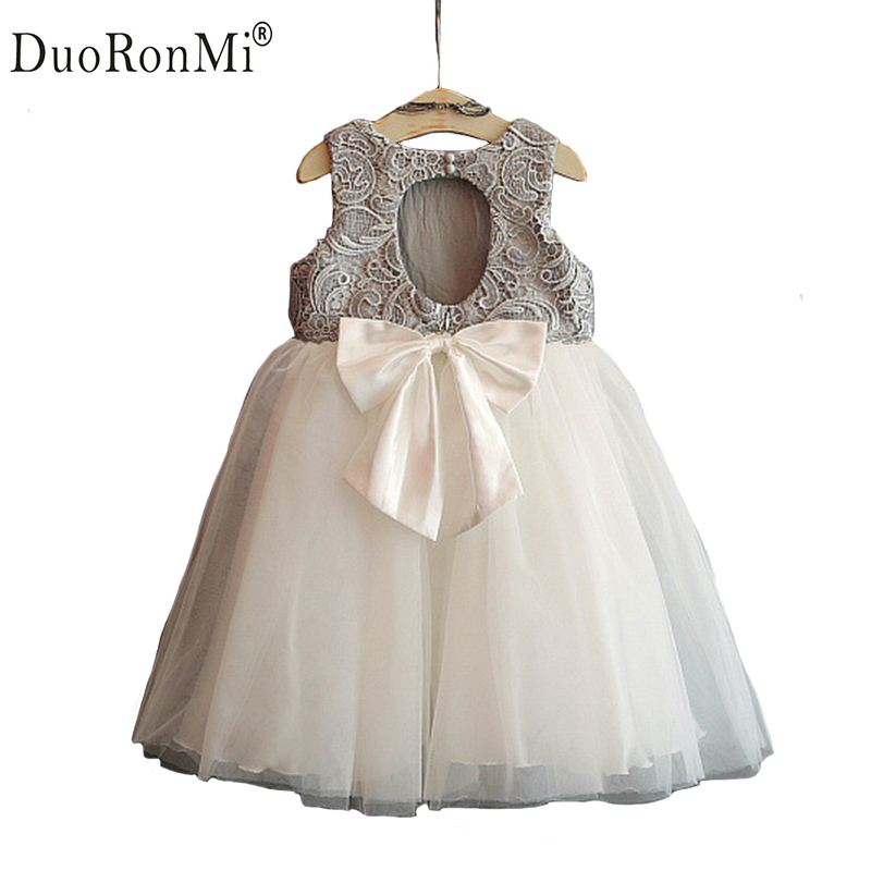 DuoRonMi Baby Girls Dress Hollow Out Back Sleeveless Princess Kids Party Children Day Dresses Bow Mesh Patchwork Tutu Dress high quality girls baby hollow out bud silk condole belt dress princess party dresses children s clothing wholesale