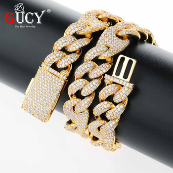 GUCY 16mm and 20mmMiami New Box Clasp Cuban Link Chain Multicolor Necklace Iced Out Cubic Zirconia Bling Hip Hop for Men Jewelry