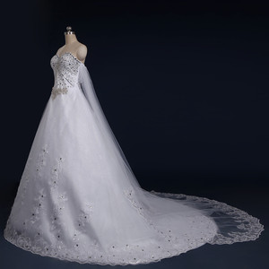Image 3 - 2020 New Luxury Big Train Wedding Dress Sexy Crystals Beaded Bridal Gown Custom made Plus Size Wedding Gown