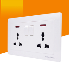 Universal Wall Socket Push Button Light Switch Dual 3 hole Power Plug Outlet Panel With Led Light Indicator 146*86mm AC 13A 250V coswall wall power socket 13a universal 3 hole outlet switched with red neon indicator