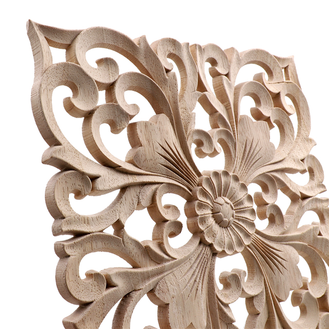 Vintage Square Carved Wooden Ornament