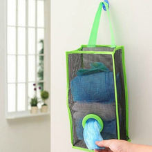The kitchen trash bag grid collects sundries sort out storage hang bag to hold plastic bag collector Home Storage Organization(China)