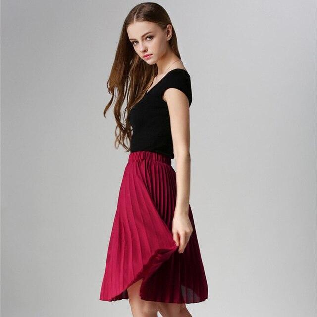 ANASUNMOON Women Chiffon Pleated Skirt Vintage High Waist Tutu Skirts Womens Saia Midi Rokken 2016 Summer Style Jupe Femme Skirt 5