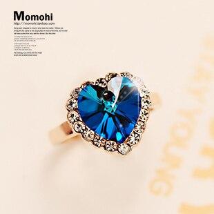 Heart crystal index finger ring female fashion rose gold decoration boring finger ring