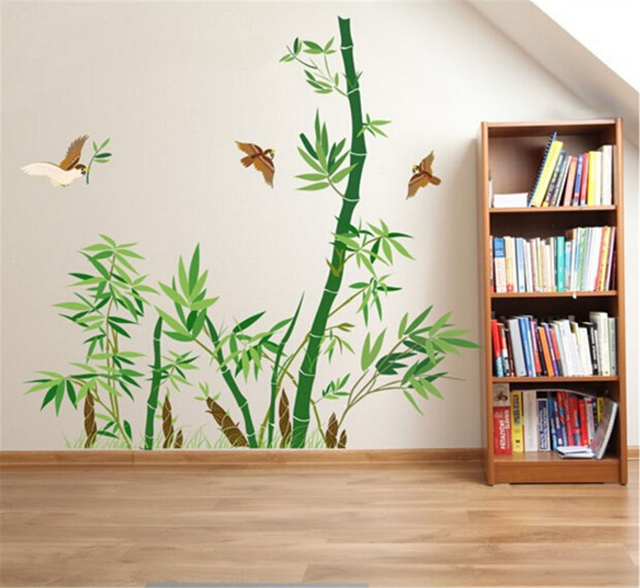 Green Bamboo And Flying Birds Wall Decals Living Room Bedroom Removable Stickers Murals