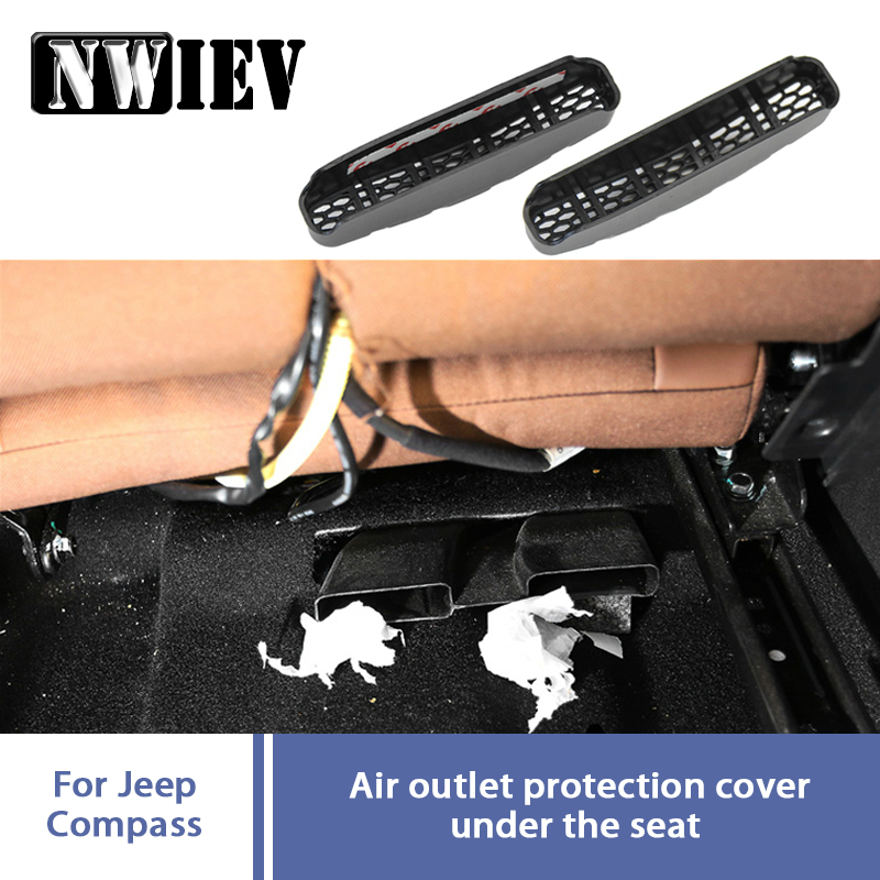 2pcs Car Under Seat Air Conditioner Air Outlet Duct Vent Protective Cover Grill Auto For 2017 <font><b>2018</b></font> <font><b>Jeep</b></font> <font><b>Compass</b></font> MP <font><b>Accessories</b></font> image