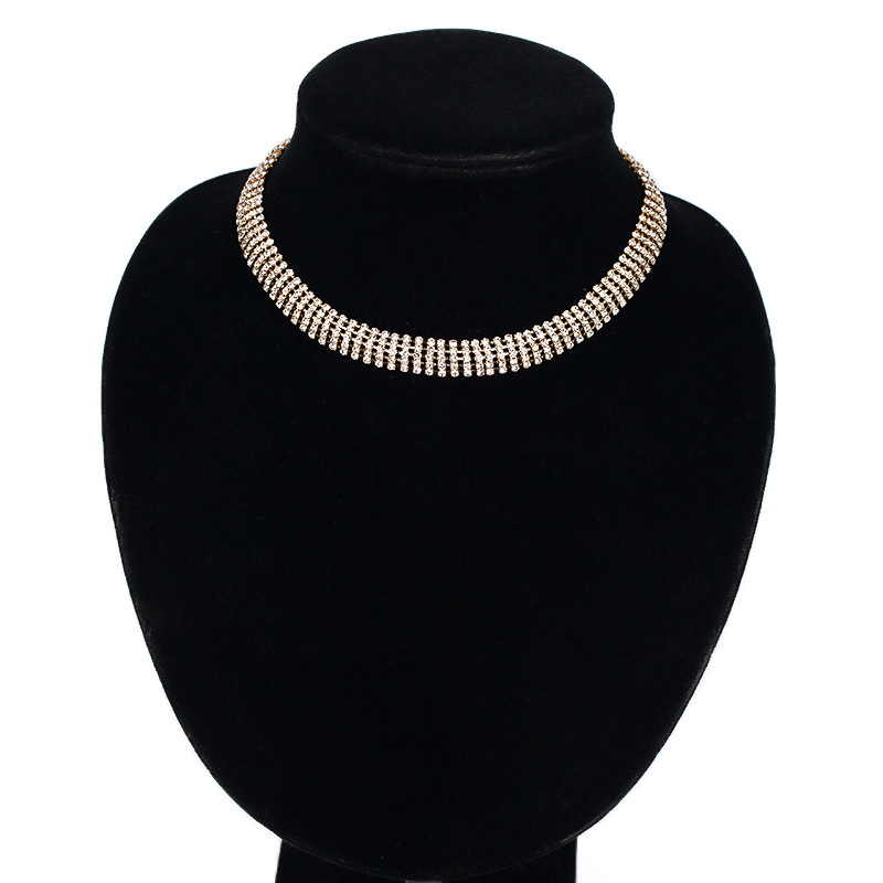 Quality classic fashion 5 full rhinestone sparkling bride ol card neck chain necklace two-color #N040
