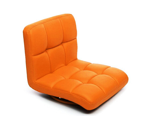 Orange Color Chair  Living Room Floor Seating Leather Furniture 360 Degree Rotating Japanese Style Tatami Zaisu Legless Chair
