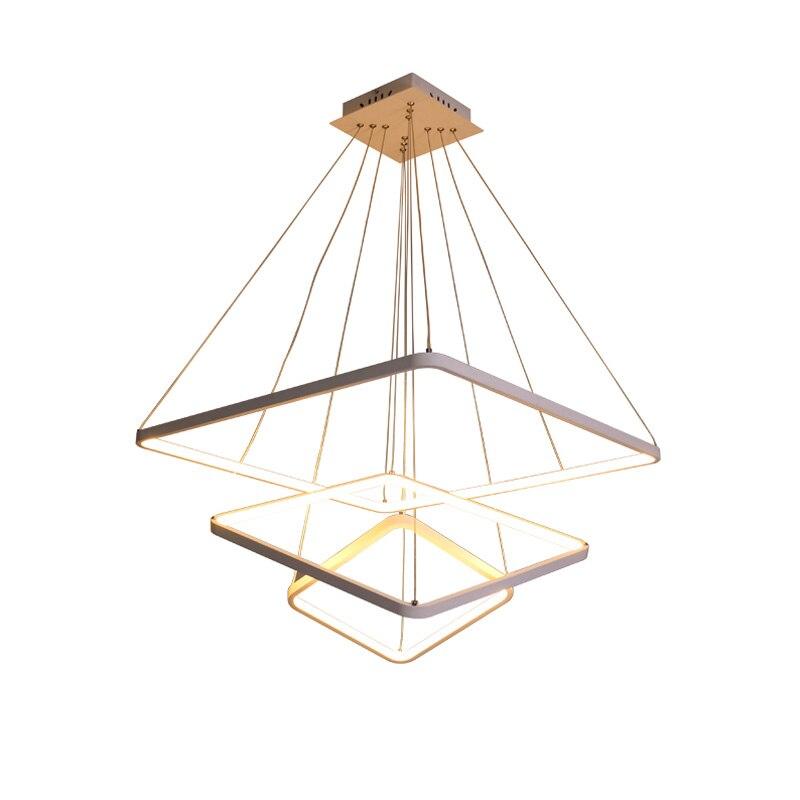 Acrylic modern led pendant light Square ring 30cm 50cm 70cm aluminum body suspension luminaire LED hanging drop lamp