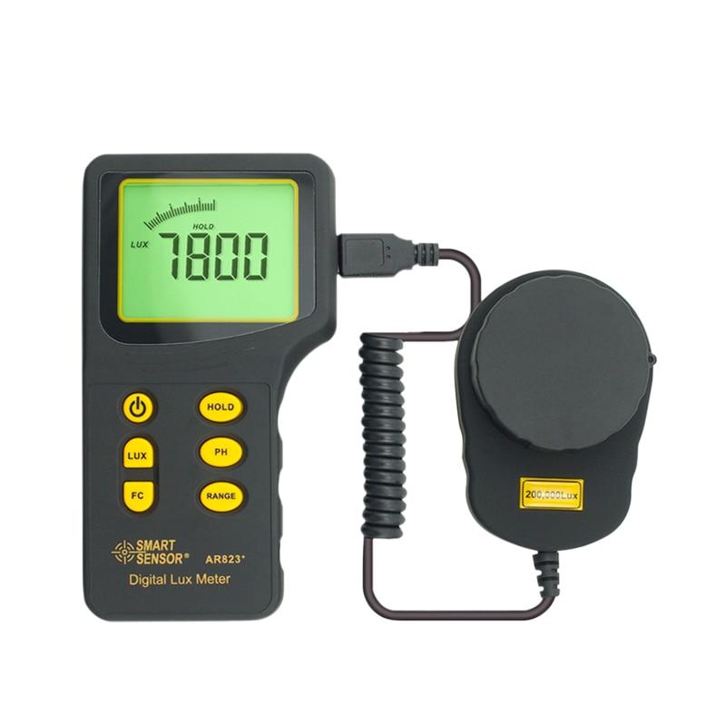 Digital Lux Meter SMART SENSOR AR823+ Luxmeter Measuring Range 1~200.000 lux Light Meter Illuminometer Photometer Lux/FC mini digital lux meter light meter lux fc measure tester