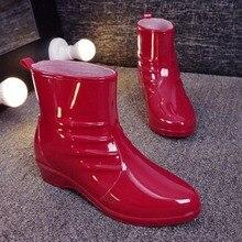 788c43cec03ac ANOVISHANA yağmur çizmeleri kadınlar için Bahar yaz Bayanlar yarım çizmeler  Pilili Kırmızı Siyah Bej Pembe kaymaz