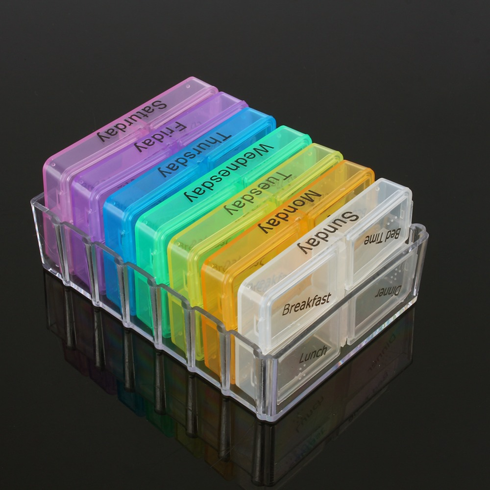 High Quality Colorful Randomly Medicine Weekly Storage Pill 7 Day Tablet Sorter Box Container Case Organizer