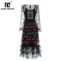 Women's 2019 Runway Dresses O Neck Long Sleeves Embroidery Floral Elegant Sexy Tulle Laid Over Fashion Casual Designer Dresses