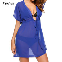 07c4204bdf Women 2018 Sexy White Chiffon Beach Tunic Dress Deep V Cover Up Bikini Swim  Robe De Plage Femme Solid Pareos Sarong Swimsuit