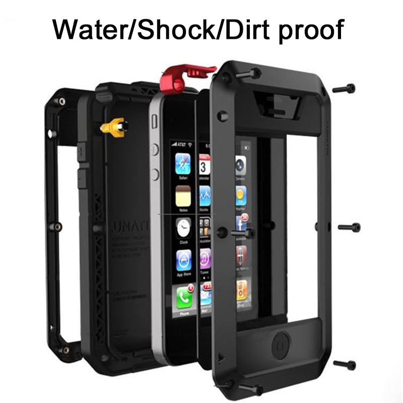 imágenes para Para Apple iPhone 4 Caja de Aluminio del Metal de Silicona 5S SÍ Vidrio Templado Doom Casos de la Cubierta de Armadura Resistente para iP a prueba de agua 6 6 S 7 Más