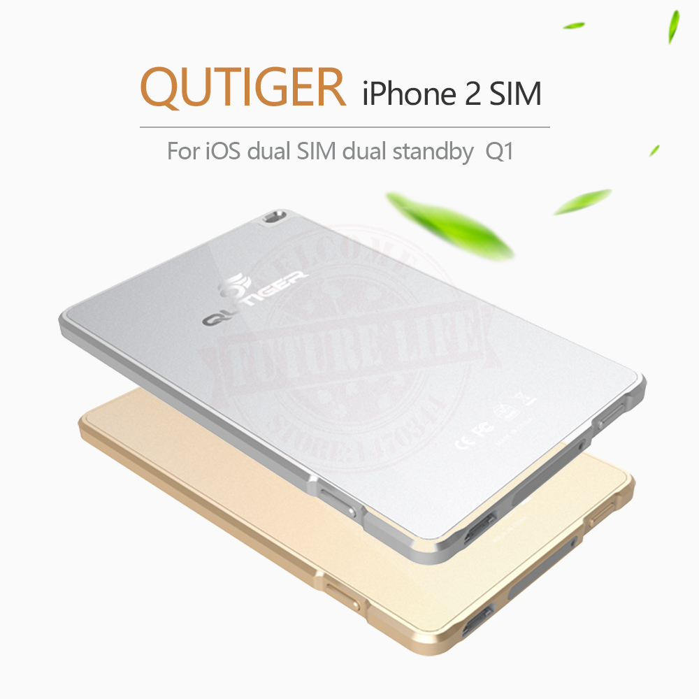 Ultra-thin Metal No Jailbreak Qutiger Dual Sim Dual Standby Bluetooth Adapter for iPhone 5-7 iOS7-10.3 Gmate