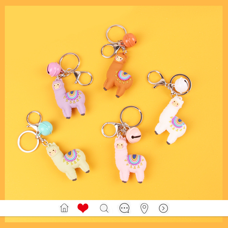 2019 Qualitied Original Cartoon Lamb Cute Luck Zodiac Alpaca Keychain Key Ring Simulation Animals Pendant Jewelry Birthday Gift