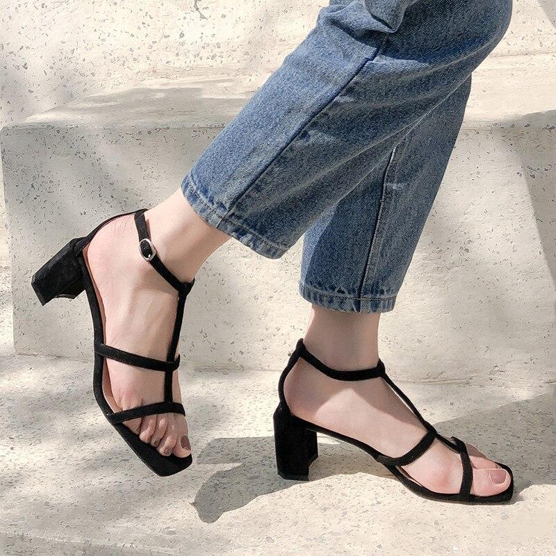 Cheville Chaussures Bande Bloc La À Blanc Été Ymechic Femme Sandales CtrsQhd
