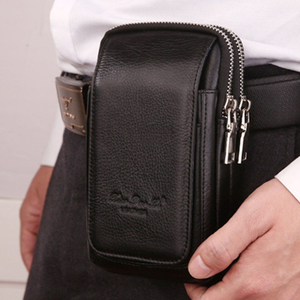 Men Genuine Leather Waist Pack Bag Double Zipper Wallet Cell/Mobile Phone Pocket Cigarette Case Designer Coin Purse Money Bags 100% genuine leather men 5 5 6 5 inch cell mobile phone case bags hip design belt purse high quality waist hook coin purse bag