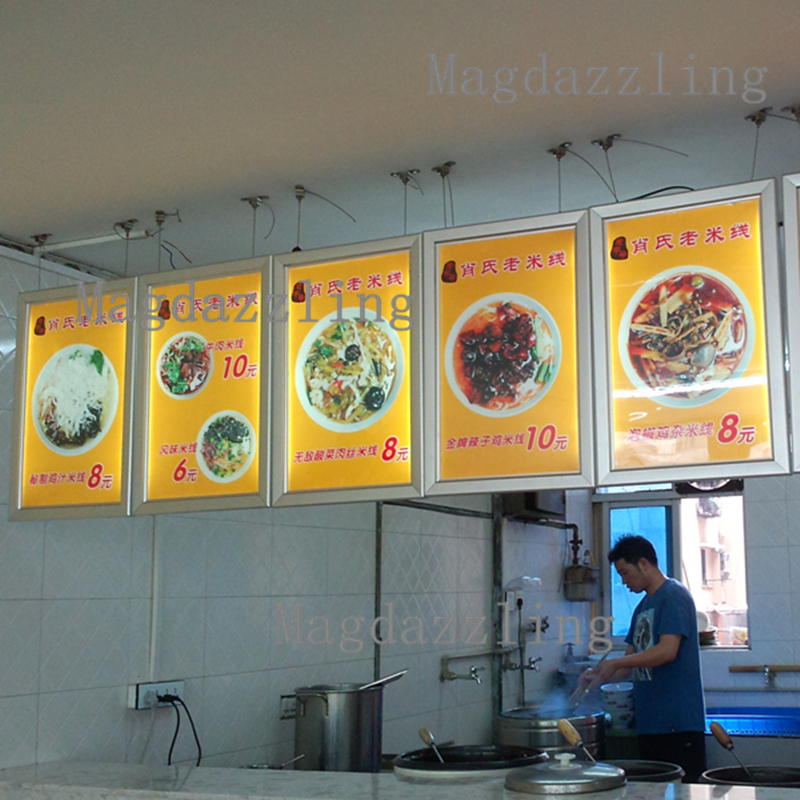 A2 Slim Cable Wire Hanging Snap Frame Restaurant Led Menu