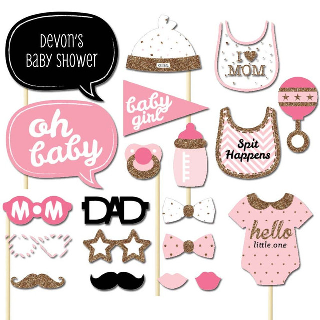 buy 1set baby shower photo booth props girl boy 1st birthday party photography. Black Bedroom Furniture Sets. Home Design Ideas