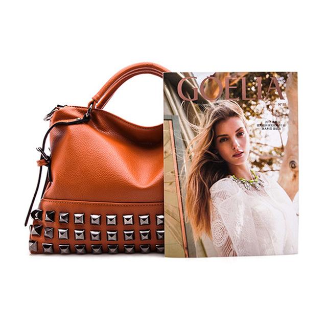 Luxury Brands 2017 Designer Tote Black Bag Women Leather Handbags Purse Fashion Rock Vintage Retro Large Shoulder Messenger Bags