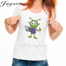 Babaseal Fashion Print Funny Tshirt Dinosaur American Flag Shirt White Plain Top Little Green Alien Thumbs Up With Laptop Tops(China)