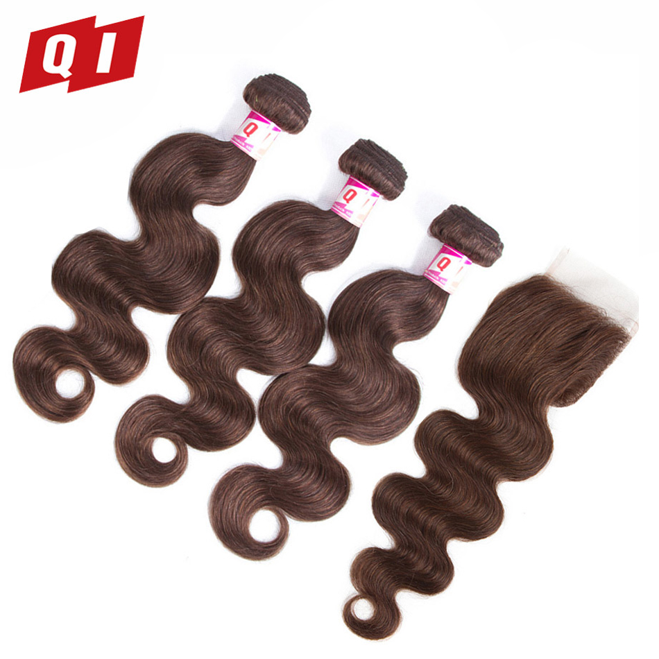 QI Hair 4 Pcs #4 Brzailian 10-24 Inch Hair 100% Human Hair Non Remy Pre-Colored Body Wave 3 Bundles With 4*4 Lace Closure