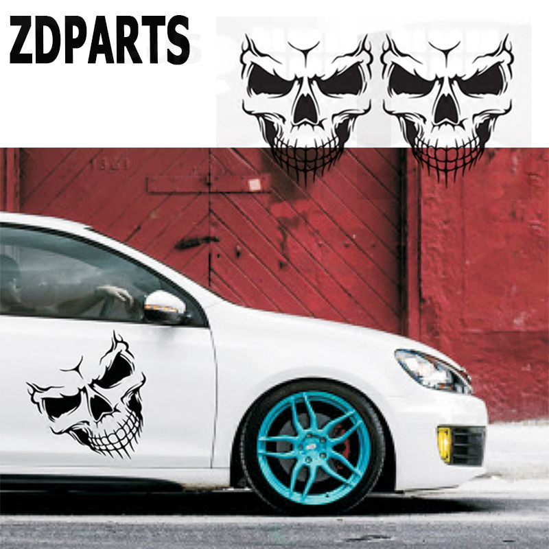 ZDPARTS 1X Skull Car Vent Hood Door Window Wheel Decals Stickers For Audi A3 A4 B7 B8 B6 A6 C6 C5 Q5 Nissan Qashqai Juke X-trail