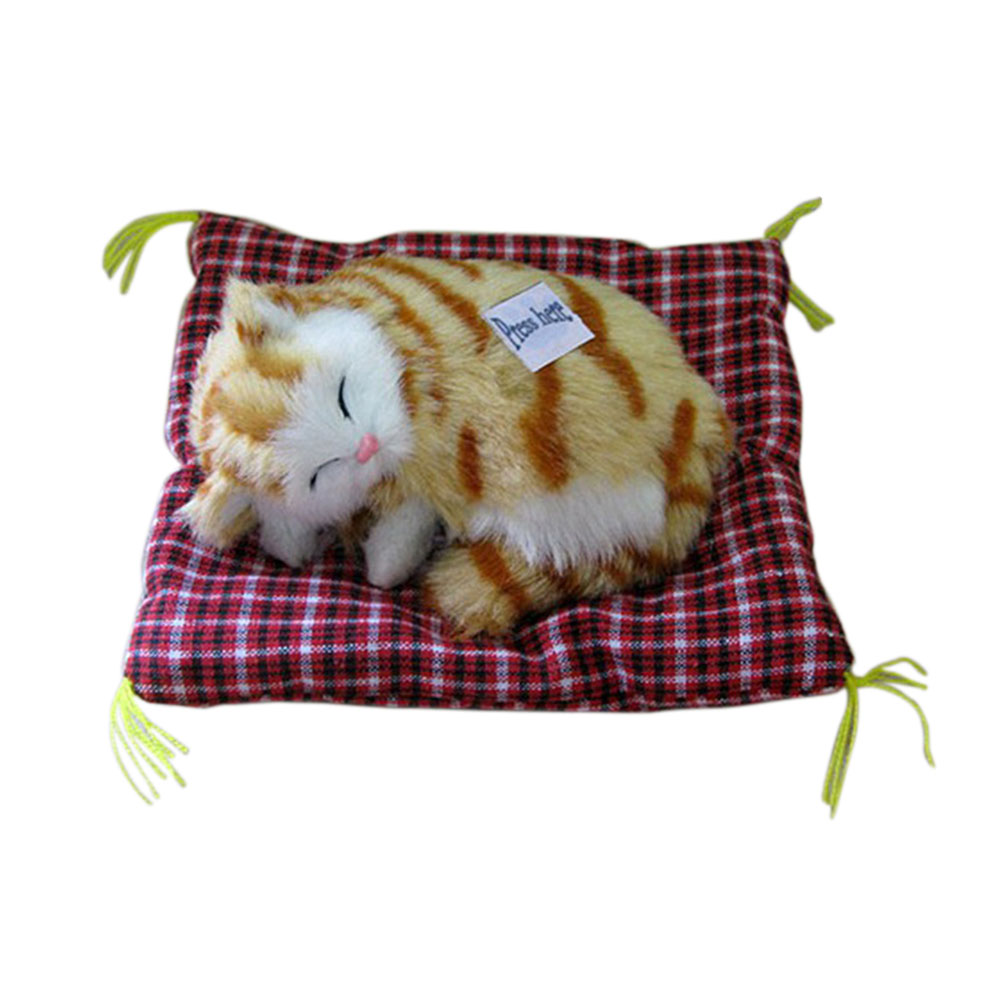 2018 Children Toy Lovely Simulated Cat Ornaments Plush Press Miaul Sleeping Cats With So ...