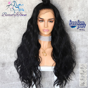 Image 2 - BeautyTown Black Color 13x6 Big Lace Free Part Futura Heat Resistant No Tangle Hair Daily Makeup Layer Synthetic Lace Front Wigs
