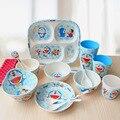 Japonês dos desenhos animados Doraemon gato bebê talheres terno genuíno A5 Melamina resina presente das crianças define louça utensílios de cozinha de plástico