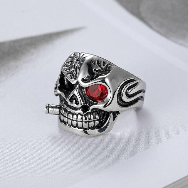 Punk para hombre Cigar Skull esqueleto plata blanco negro color rojo ...