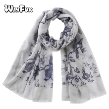 Winfox Fashion Grey Pink Bird Tree Floral Print Scarf Shawl  Women Muslim Hijab Scarves