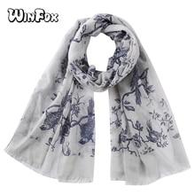 Winfox Fashion Grey Pink Bird Tree Floral Print Scarf Shawl  Women Muslim Hijab Scarves