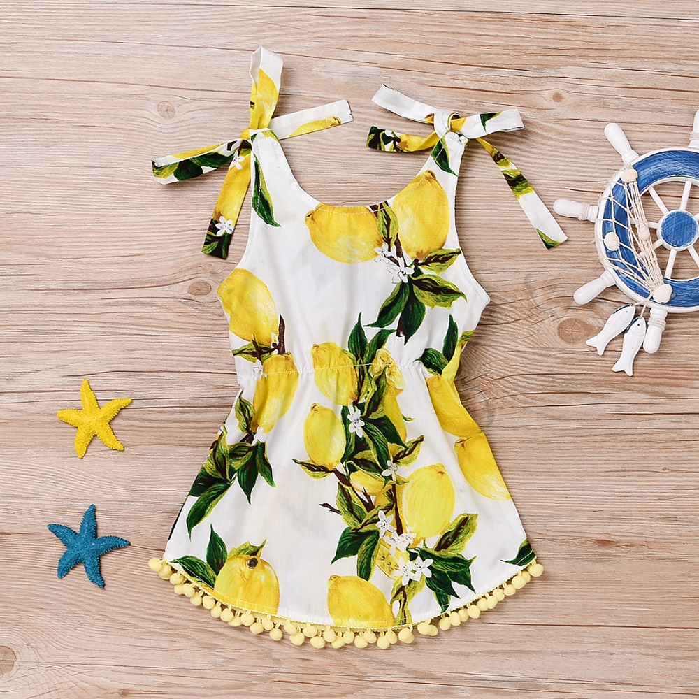 Summer 2017 newborn girls floral tassel coveralls lemon overalls one-piece womens beach suit clothes 0-24 m