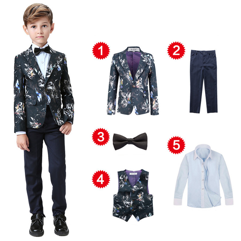 Newest 2018 Boys Blazer Wedding Suits Brand Kids 5PCS Formal Suit with Bow Boys Party Tuxedos Costume Single Button Suit S84015A