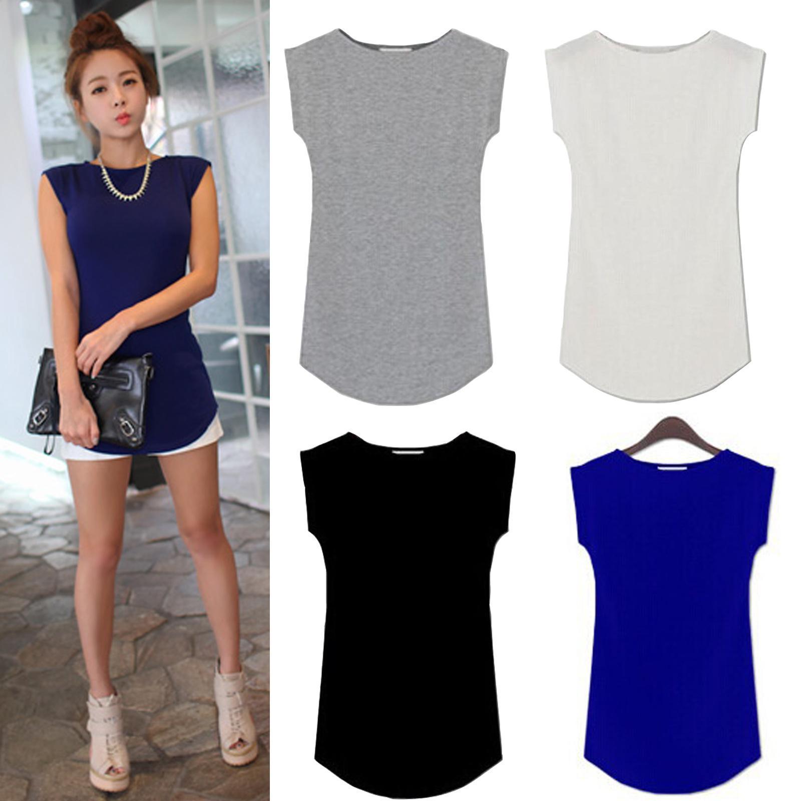 Black Friday Deals New 2018 Girls Women's O Neck Sleeveless Long T-Shirts Modal Tops Basic Solid White Black Blue Gray Tee Shirt