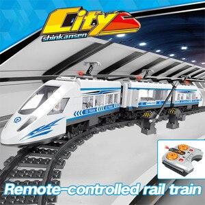 Image 2 - Rc テクニック市鉄道ビルディングブロックリモコンコントロールステーションレール列車啓発レンガのおもちゃクリスマスプレゼント
